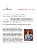 International Wine Review Blog Freeman 2013 Chardonnay and Pinot Noir Releases from the Russian River Valley and Sonoma Coast cover