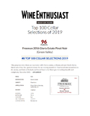 2016 Gloria Estate Pinot Noir Awarded 96 Points by the Wine Enthusiast & #8 on the its Top 100 Cellar Selections for 2019 cover